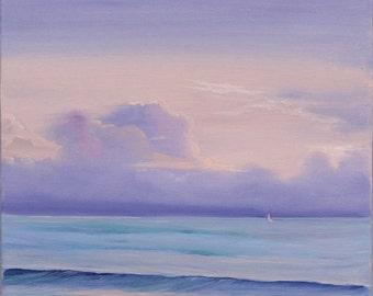 Seascape, Ocean Sunrise Painting, Original Beach Painting, Landscape, Beach Scene, Water, Beach Oil Painting, Fine Art Reminiscence