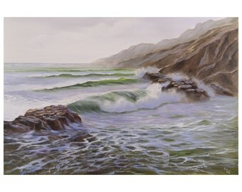 Large Coastal Landscape, Seascape Painting, Ocean Waves, Coastal Art, Fine Art, Original Large Oil Painting on Canvas