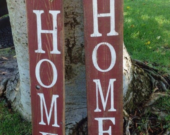 Vertical HOME Reclaimed Wood Sign, Fence wood, Housewarming gift, Rustic home sign, Wedding sign, Family sign, Fast shipping