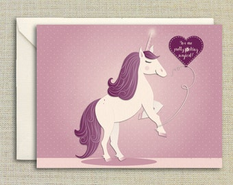 Unicorn Valentine Day Card,  You Are Pretty F*cking Magical Card, Funny Valentine Card, For Girlfriend, Gift For Her