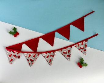 Christmas bunting - Father Christmas bunting - Santa bunting - Mini Christmas bunting - Festive bunting - Santa banner