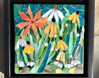 Summer Flowers I : Fine Stained Glass Mosaic Wall Art