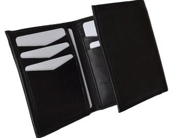 Men's Flap Down ID Window Premium Leather Trifold Wallet Black  P 2855