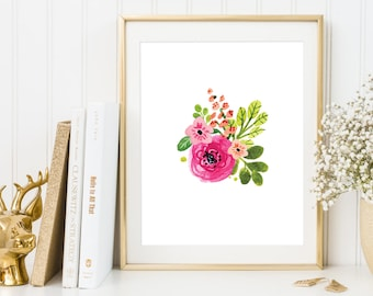 Pink floral print, Shabby Chic Home Decor, Printable flowers, Floral wall art, Watercolor flowers print, Flowers poster, Pink wall decor