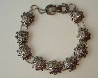 Vintage Silver Tone Ladybug Lady Bug Sliding Charms Bracelet