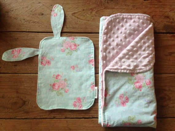 """Baby Blanket and """"Lovie"""" set-Cotton and Minky"""