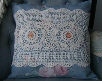 "Vintage Doily Pillow Cover, 16"" x 16"" Pillow Cover, Blue Pillow Cover, Upcycled Pillow Cover, Throw Pillow Cover"