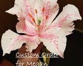 Mothers Day Bouquet with Blooming Stargazers, Handmade Crepe Paper Flowers for Megan