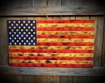 Handmade American Flag - Wooden Stars and Stripes - Red White and Blue - Rustic American Flag - Burned Wood Flag - American Flag Wooden Sign