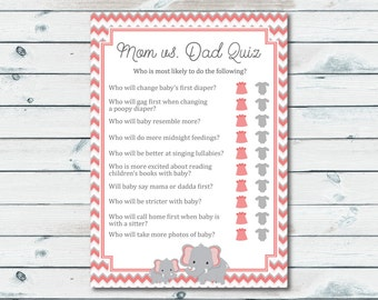 mom vs dad quiz baby shower game coral and gray elephant baby shower