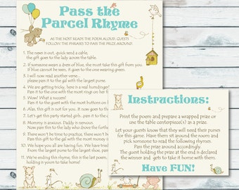 Pass The Parcel Rhyme Printable, Pass The Prize Baby Shower Game, Storybook Baby Shower Game Printable, Pass The Centerpiece Game, Storybook