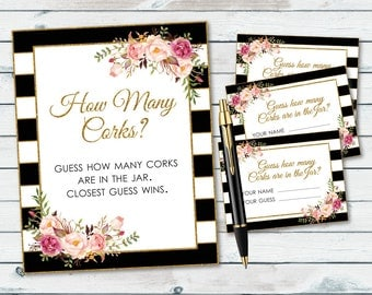 How Many Corks Sign Printable, Guess How Many Corks, Bridal Shower Guess The Corks Game, Guessing Shower Game, Bridal Shower Sign, Floral
