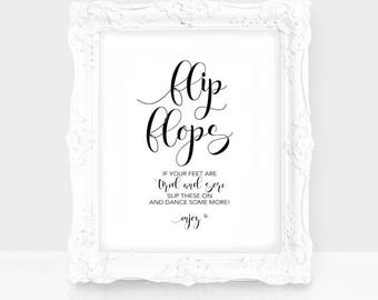 instant download wedding flip flops sign flip flop sign dance floor reception sign