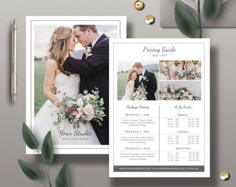 Pricing Guide Template, Photography Pricing Design, Minimalist Design Price List Template for Photographers - INSTANT DOWNLOAD - PG001