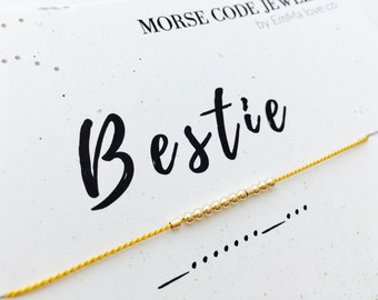 Bestie Morse Code Bracelet / Friendship bracelet / Best Friend Bracelets / Secret Message Bracelet / Love Bracelet / Silk Cord Bracelets
