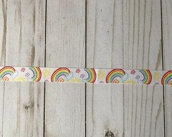 Rainbow print grosgrain ribbon