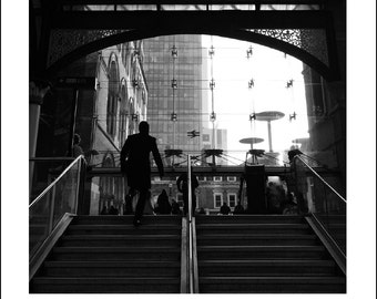 Wall Art, Home Decor, Wall Decor, Art Print, London Photography, Liverpool Street, Stairs, Cityscape, Black And White Photo Print, Unframed