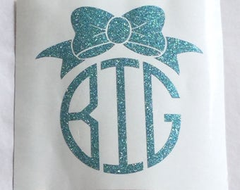 Bow Monogram - Girly Bow Decal - Bow Monogram - Glitter Bow Monogram - Yeti Glitter Decal - Girl's Yeti Decal - Bow Decal