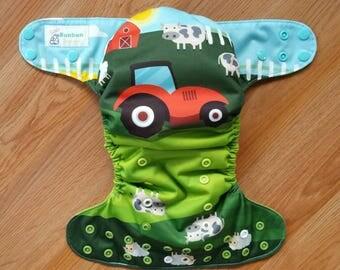 On The Farm cloth diaper - AIO cloth diaper - one size cloth diaper - hemp bamboo diaper - wahm cloth diaper - tractor diaper - cow - sheep