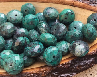 Faceted Natural Chrysocolla Rondel Shaped Beads
