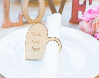 Rustic Wedding Table Decor Napkin Ring Wedding Favor Place setting Personalized Napkins Rings Wooden wedding favor decoration