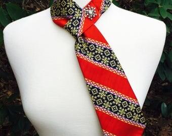 Necktie Scarf Vintage Upcycled Christmas Holiday Snowflake Motif Pattern with Vintage Rhinestone Snowflake Brooch- Repurposed men's Tie
