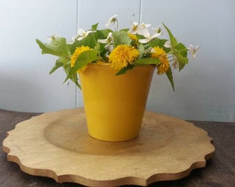 Yellow planter, yellow pot, decorative planter, yellow home decor