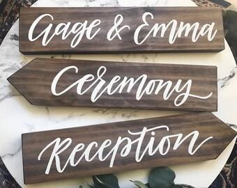 Wooden arrow sign. Wedding Sign. Wedding direction sign. Woodland wedding sign. wedding signage. Rustic wedding sign. Arrow wedding sign