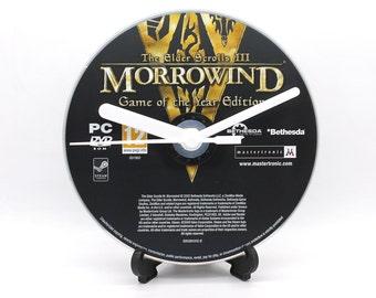 Morrowind The Elder Scrolls III PC Upcycled CD Clock Video Game Disc Gift Idea