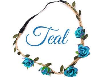 Teal, Sky blue or Cream Flower Crowns