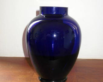 Cobalt Blue Urn Vase - Mouth Blown Vintage German