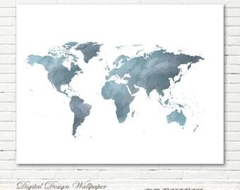 World Map Wall Art Etsy - World map highlighting australia