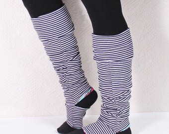 Stirrup Leg Warmers (LINED!). Black and White Stripe. Thigh high or Knee High