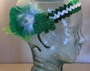 St. Patricks Green Shamrock Sequin Stretch Headband
