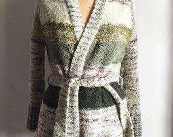 1970s Vintage | Kimlin Wrap| Green Plum Striped Sweater | Self Belt | Nubby Boucle Texture | Medium