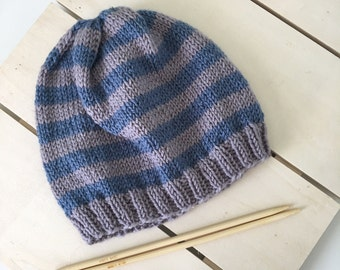 Toddler Grey and Blue Stripped Hat