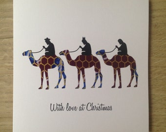 "Christmas Card/3 wise men/African Wax Print Cards/Ethnic card (6"" square)"
