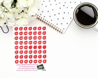 Planner Stickers|Tear Drop Date Cover Ups| Date Cover Up Stickers| Number Stickers|For use in a variety of planners and journals|TDC09