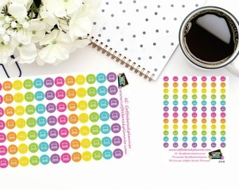 Planner Stickers| Computer Dot Icon Stickers|Laptop Stickers| Computer Stickers|For use in various paper planners and journals|I014  I014M
