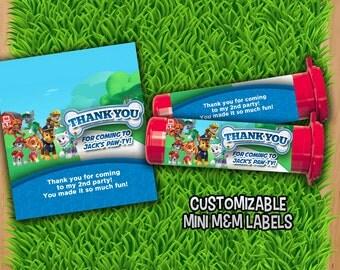 Paw Patrol Mini M&M Tube Wrapper - Chase Mini M and M Labels Customized - Birthday Party Mini M and M Tube Label - Paw Patrol party labels