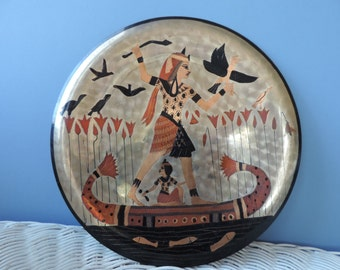 Egyptian Copper  Etched and Painted Plate Vintage