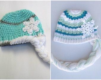 frozen hat, elsa hat, Frozen Inspired Crocheted Elsa Hat With Braid, girls hats, Crochet Elsa Frozen Hat, princess elsa hat, disney hat