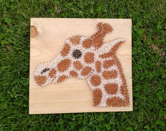 Giraffe, Giraffe String Art, Nursery, Nursery Wall Art, Giraffe Art, Animal Art, Safari, Zoo Animals, Custom String Art, String Art