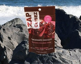ZAP Cubez Pomegranate Chocolate Caffeinated Healthy Energy Chews Snack Bites