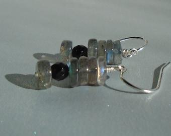 Labradorite Earrings with Black Onyx, Black Earrings, Short Dangling Earrings, Gemstone Earrings, Dainty Earrings