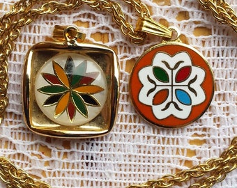 Vintage Changeable Pendant Necklace, Quilt Block Style Necklace, Folk Art Necklace, 1960s Jewelry, Mothers Day Gift