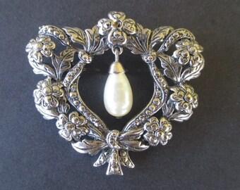 Victorian Style Brooch * Faux Pearl Pin * Heart Flower Bow Brooch * Drop Dangle Pin * Ornate Brooch