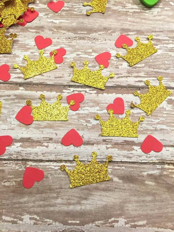 gold tiara crown red heart confetti baby shower glitter decorations