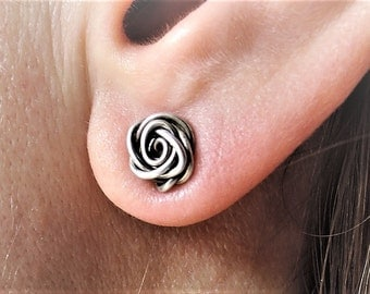 Rose Bud Earrings - Wire Wrapped Earrings - Rose Stud Earring - Small Ear Posts - Copper Rose Posts - Silver Rose Studs