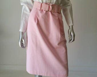 80s Skirt | Skirt Vintage | Skirt with Pockets | Button Skirt | Pink Skirt | Belt Skirt | Cotton Skirt | Pencil Skirt |